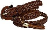 Sitong women's fashion tassel woven leather belt