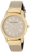 Karl Lagerfeld Women&s Lapelle Stud Leather Strap Watch