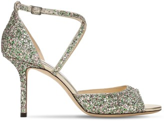 Jimmy Choo 85mm Emsy Glitter Sandals