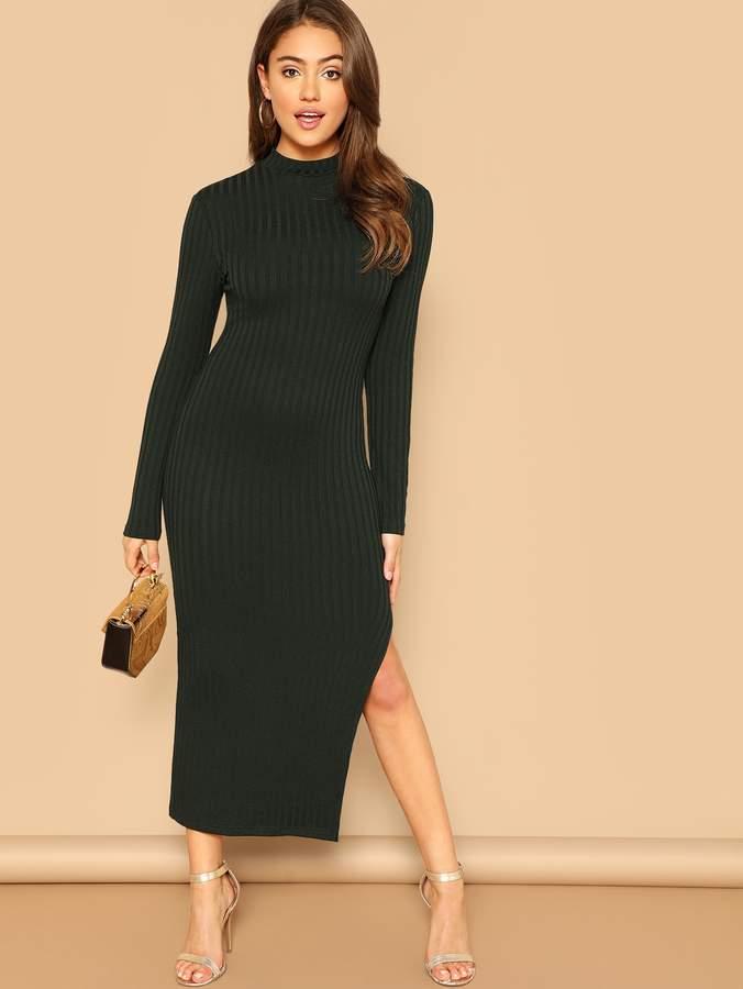 Shein Mock-Neck Ribbed Knit Solid Dress
