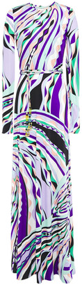 Emilio Pucci Belted Printed Silk-jersey Maxi Dress
