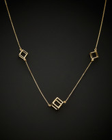 Italian Gold 14K 3D Cube Station Adjustable Necklace