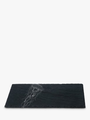 The Just Slate Company Under The Sea Slate Jellyfish Platter, Black