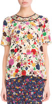 Kenzo Medium Tanami Flower Silk Top, White