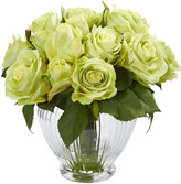 Nearly Natural Rose Artificial Floral Arrangement In Glass Vase