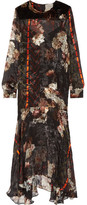 Preen by Thornton Bregazzi Poem Velvet-trimmed Printed Fil Coupé Silk-chiffon Dress - Black