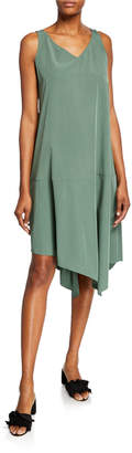 Eileen Fisher Sandwashed V-Neck Sleeveless Asymmetric Shift Dress