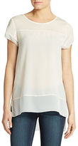 French Connection Polly Plains Sheer Yoke Top