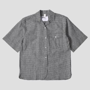 Margaret Howell Safari Shirt in Black and White Gingham - linen | Small (S)