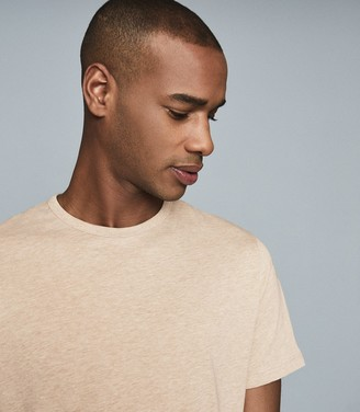 Reiss Williams - Cotton-blend Crew Neck T-shirt in Soft Camel