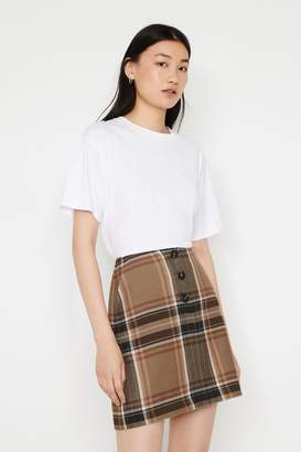 Warehouse Womens Natural Bold Check Pelmet Mini Skirt - Natural