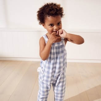 The White Company Gingham Dungarees with Toy, Blue, 12-18mths