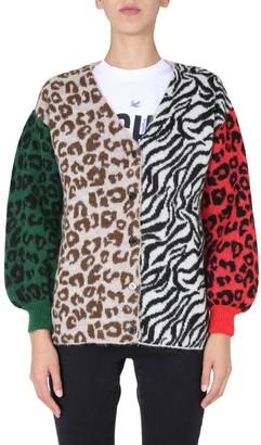 Boutique Moschino Animal Print Knit Cardigan