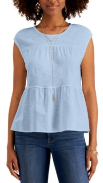 Style&Co. Style & Co Petite Cotton Tiered Top, Created for Macy's