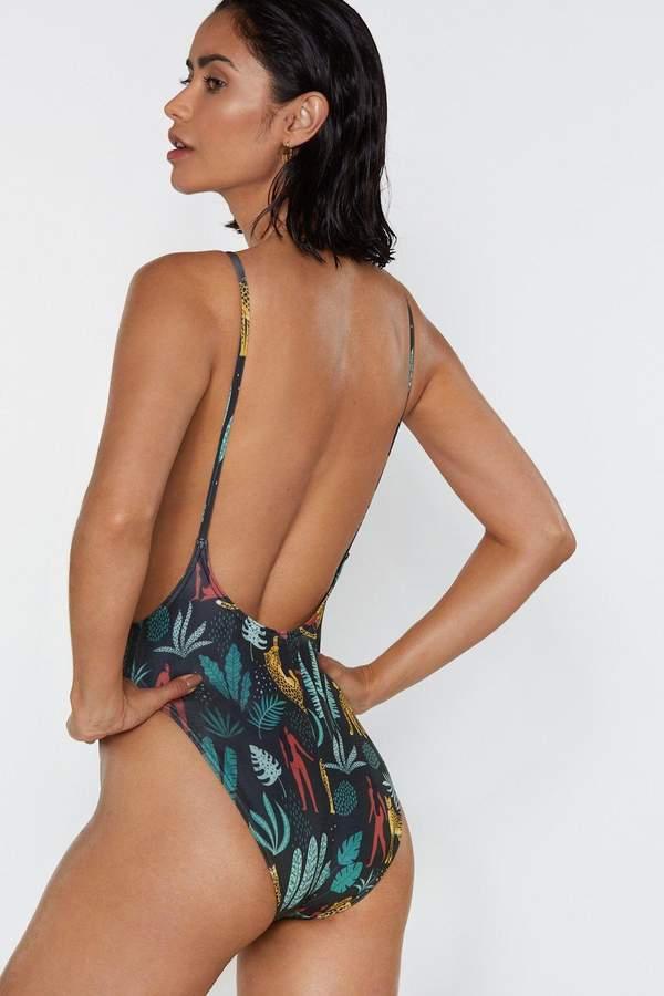 Alina Animal and Leaf Swimsuit