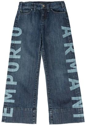 Emporio Armani Logo Printed Stretch Denim Culottes