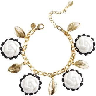 Poporcelain Porcelain Camellias & Golden Leaves Bracelet