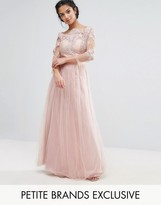 Chi Chi Petite Chi Chi London Petite Allover Lace Top Maxi Dress With Tulle Skirt