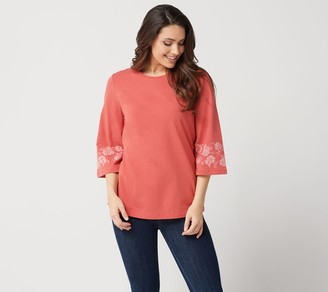 Denim & Co. Jersey 3/4-Sleeve Top with Printed Cuffs