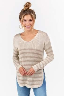 francesca's Rudie Side Split Sweater - Taupe