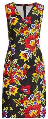 Carolina Herrera V-Neck Sleeveless Floral Sheath Dress