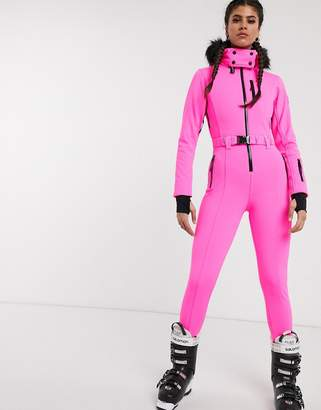 Asos 4505 4505 ski fitted belted ski suit with faux fur hood-Pink