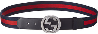 Gucci Web & Leather G Buckle Belt