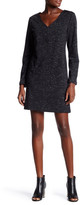Max Studio V-Neck Long Sleeve Knit Patch Pocket Dress