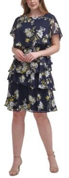 Jessica Howard Plus Size Printed Tiered Dress