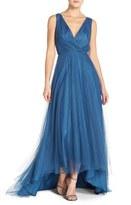 Women's Monique Lhuillier Bridesmaids Pleat Tulle V-Neck High/low Gown