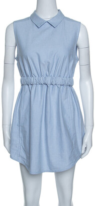 Carven Blue Chambray Gathered Waist Sleeveless Dress M