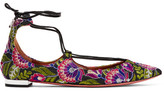 Aquazzura Christy Embroidered Canvas Point-toe Flats - Purple
