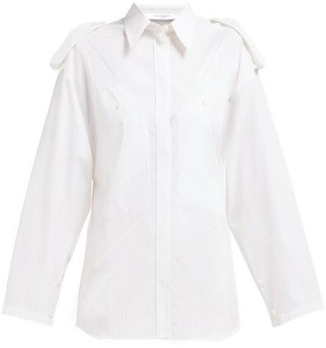Givenchy Pinstriped Shoulder Epaulette Cotton Shirt - Womens - Beige Stripe