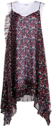 P.A.R.O.S.H. Rose-Print Asymmetric Midi Dress