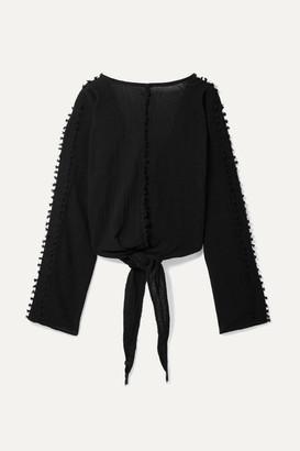 Caravana - Ticul Open-back Fringed Cotton-gauze Top - Black