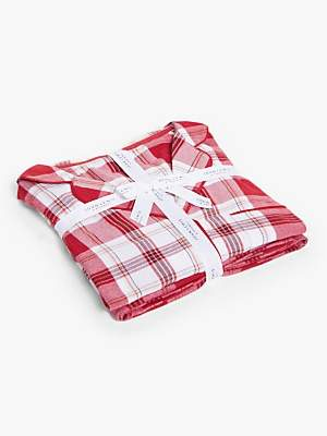 John Lewis & Partners Christina Check Pyjama Gift Set, Red