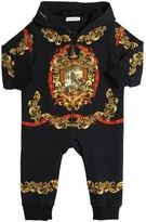 Dolce & Gabbana Printed Cotton Hooded Romper