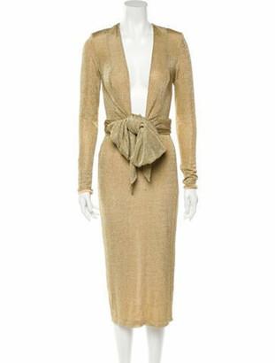 Misha Collection V-Neck Midi Length Dress w/ Tags Gold