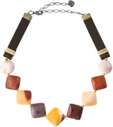 Nakamol Jasper & Leather Square Beaded Choker Necklace