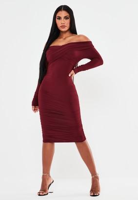 Missguided Raspberry Slinky Bardot Long Sleeve Midi Dress