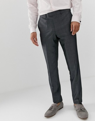 French Connection prince of wales check slim fit suit trousers-Grey