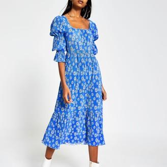 River Island Womens Blue floral plisse square neck midi dress