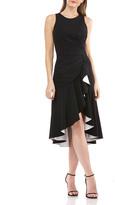 Carmen Marc Valvo Sleeveless High-Low Cocktail Dress w/ Contrast Lined Ruffle