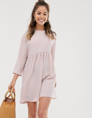 Asos Design DESIGN long sleeve smock mini dress-Pink