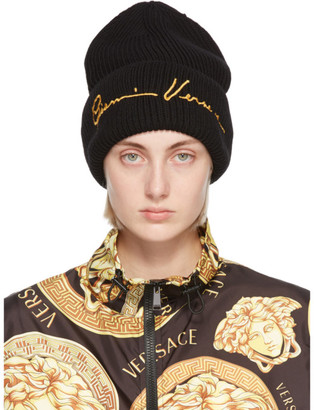 Versace Black Wool GV Signature Beanie