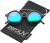 Zerouv Modern Metal Brow Bar Iridescent Colored Mirror Round Sunglasses 46mm