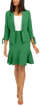 Le Suit Ruffle-Trim Skirt Suit