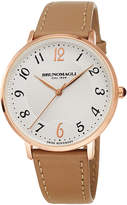 Bruno Magli 36mm Roma 1221 Leather Watch, Tan/Rose