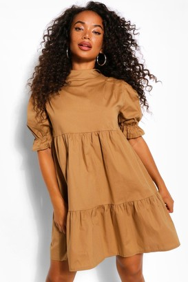 boohoo Petite High Neck Smock Dress