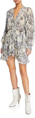 IRO Patchak Printed Long-Sleeve Dress
